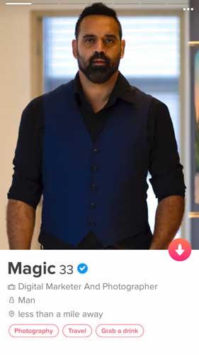 Magic's Tinder Profile Photo